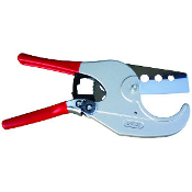 this pvc cutter features a replaceable drop forged carbon steel blade and a ratchet mechanism that