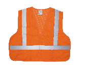"Class II Safety Vest - ECONOMY Grade. 100% polyester open weave mesh. Velcro front closure. Two vertical and one horizontal 2"" wide silver reflective stripes front and back. One Size"