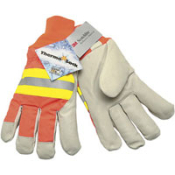 "Luminator Premium Grade Pigskin Driver Glove. High Visibility Back with3M® reflective striping. Thermosock® lining and 2 1/2"" knit wrist - Size L"