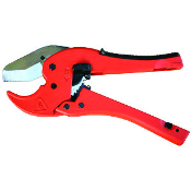 "This PVC cutter has a ratchet mechanism that makes PVC cutting fast, easy, and comfortable! Good for cutting PVC plumbing and irrigation pipe up to 1-5/8"" in diameter."