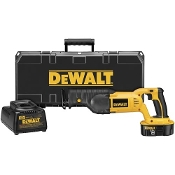 The DeWalt DC385K includes the variable speed reciprocating saw, an 18V XRP™ battery, and carry case.