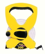 "Stanley 1/2"" X 200' fiberglass tape has a polymer coating that protects markings from abrasion. The high impact case has a durable rubber grip. Tru-zero folding end hook."