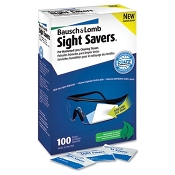 Keep glass or plastic lenses spotless with Bausch & Lomb Sight Savers® antifog, antistactic cleaning wipes. Pre-moistened tissues come in individual packets, 100 per dispenser box.
