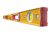 "Stabila Type 196 levels have an extra-rigid rectangular aluminum profile with reinforcing ribs, two milled measuring surfaces on levels to 72"" and are suitable for overhead (vial down) measurement."