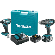 "Includes 1) 18V LXT Lithium-ion 1/2"" Hammer-Driver Drill, 1) 18V LXT Lithium-ion Impact Driver, 2) 18V LXT Lithium-ion 4.0 Ah Batteries, 1) Rapid Charger, and Tool Case"