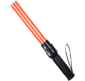 "17-1/2"" rugged polycarbonate reflector lens with 5 high intensity white LED lights inside the orange wand and a strong magnetic bottom"